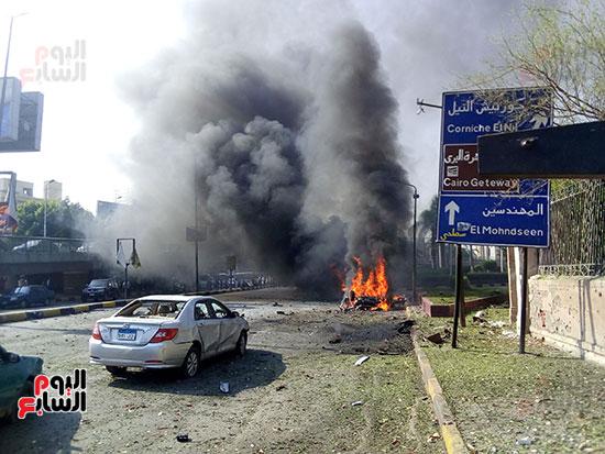 انفجار سيارتين فى مطلع كوبرى اكتوبر (21)