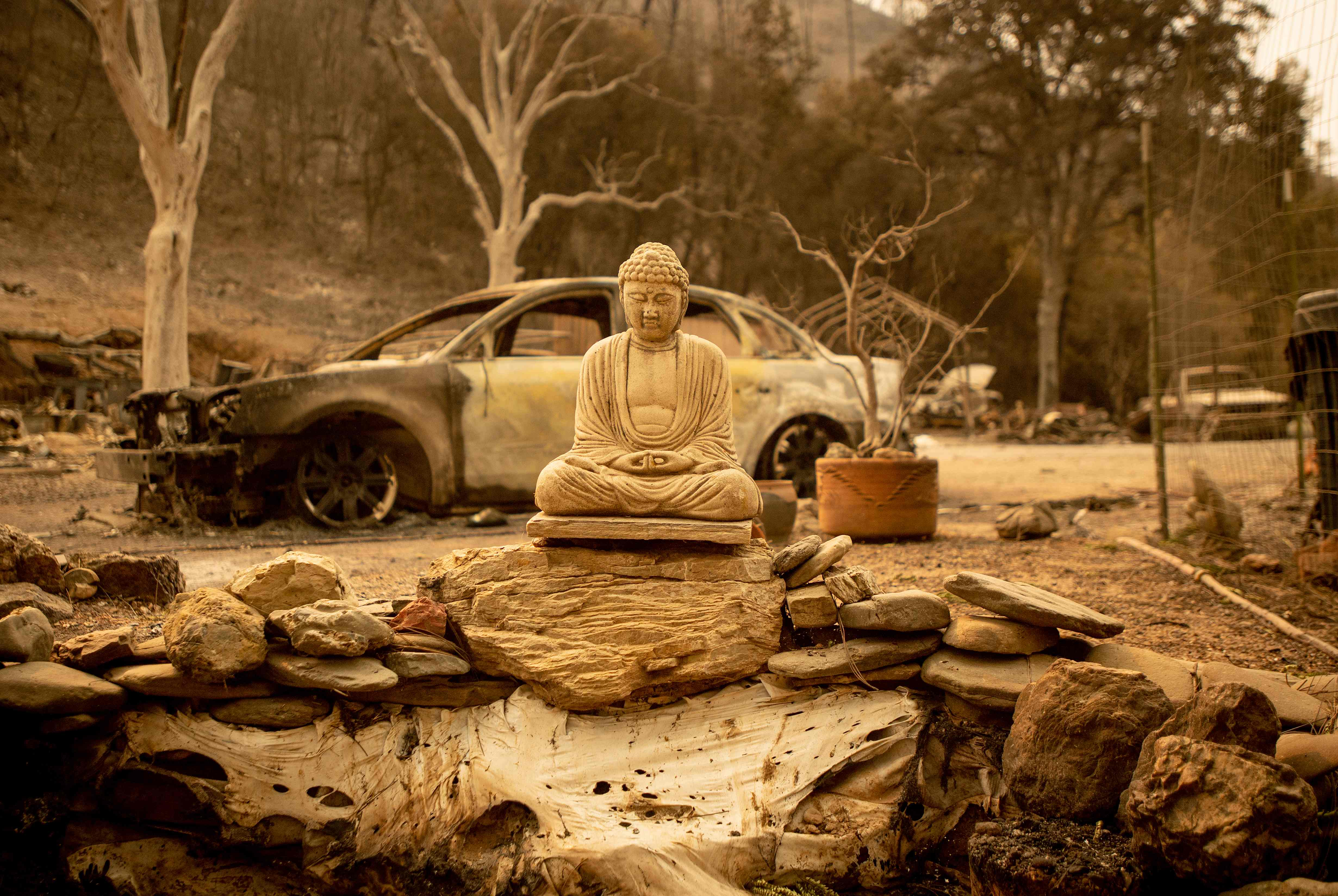 سيارة أكلتها النيران