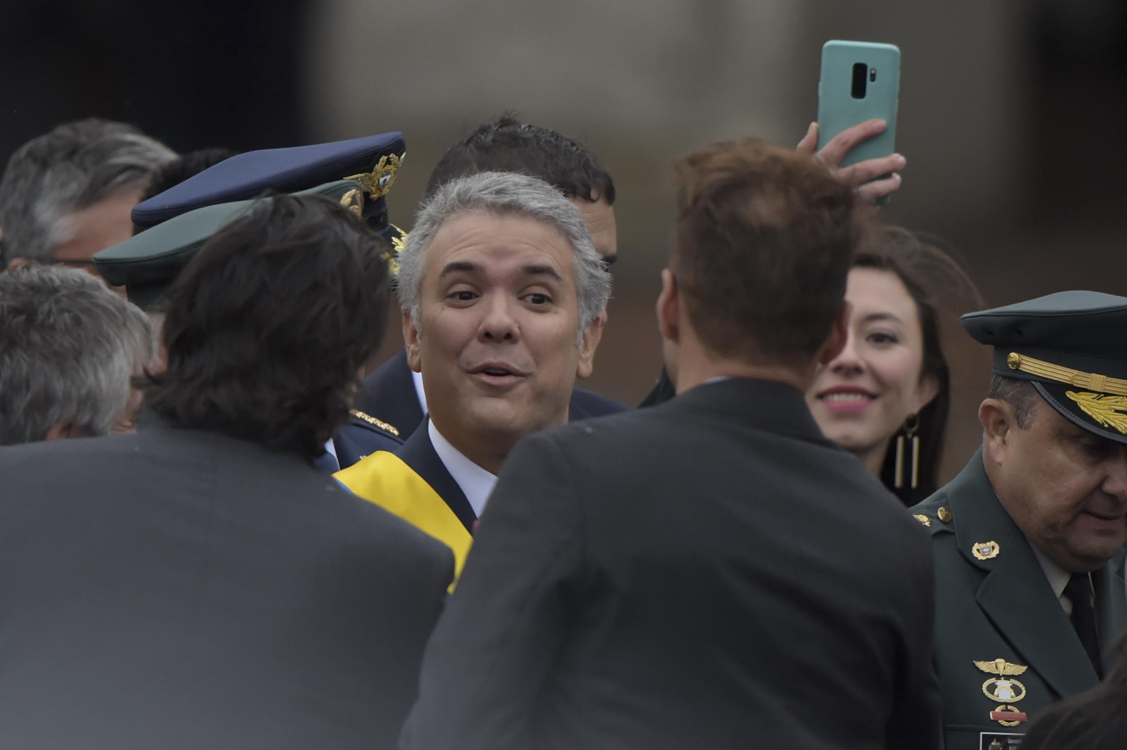 جانب من وصول الرئيس الكولومبى إيفان دوكى