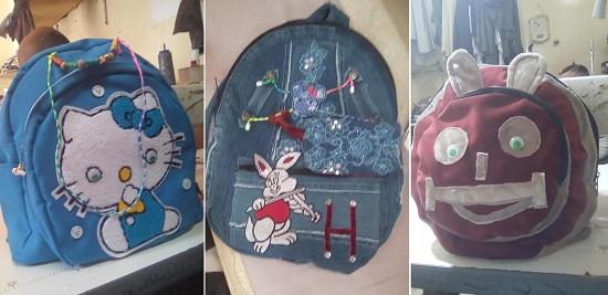 حقائب صنعها وحيد لمراحل دراسية مختلفة