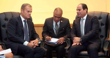 الرئيس السيسى مع دونالد توسك