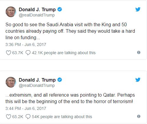 تغريدات ترامب لدعم الإجراءات التى اتخذتها الدول العربية ضد قطر