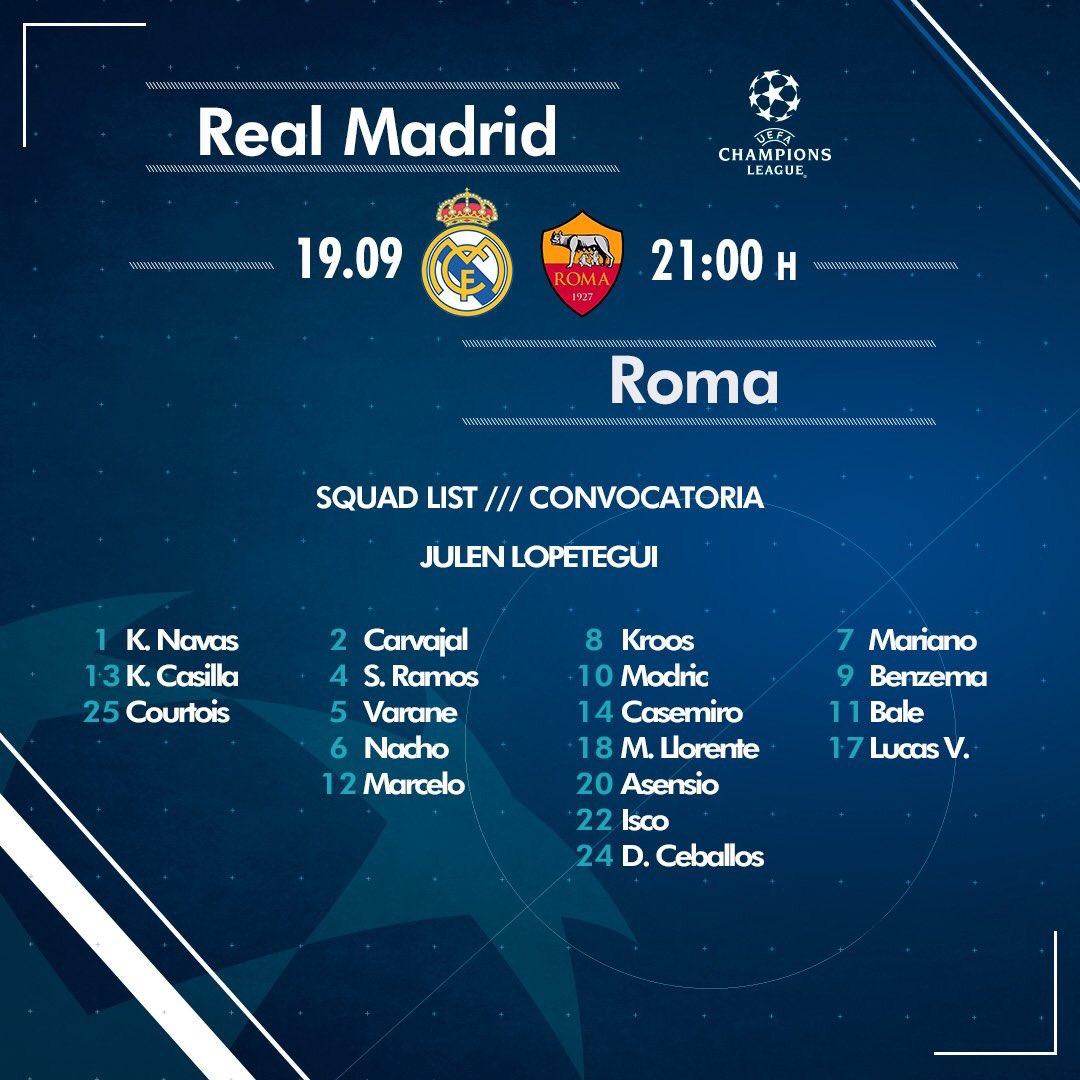 قائمة ريال مدريد لمباراة روما