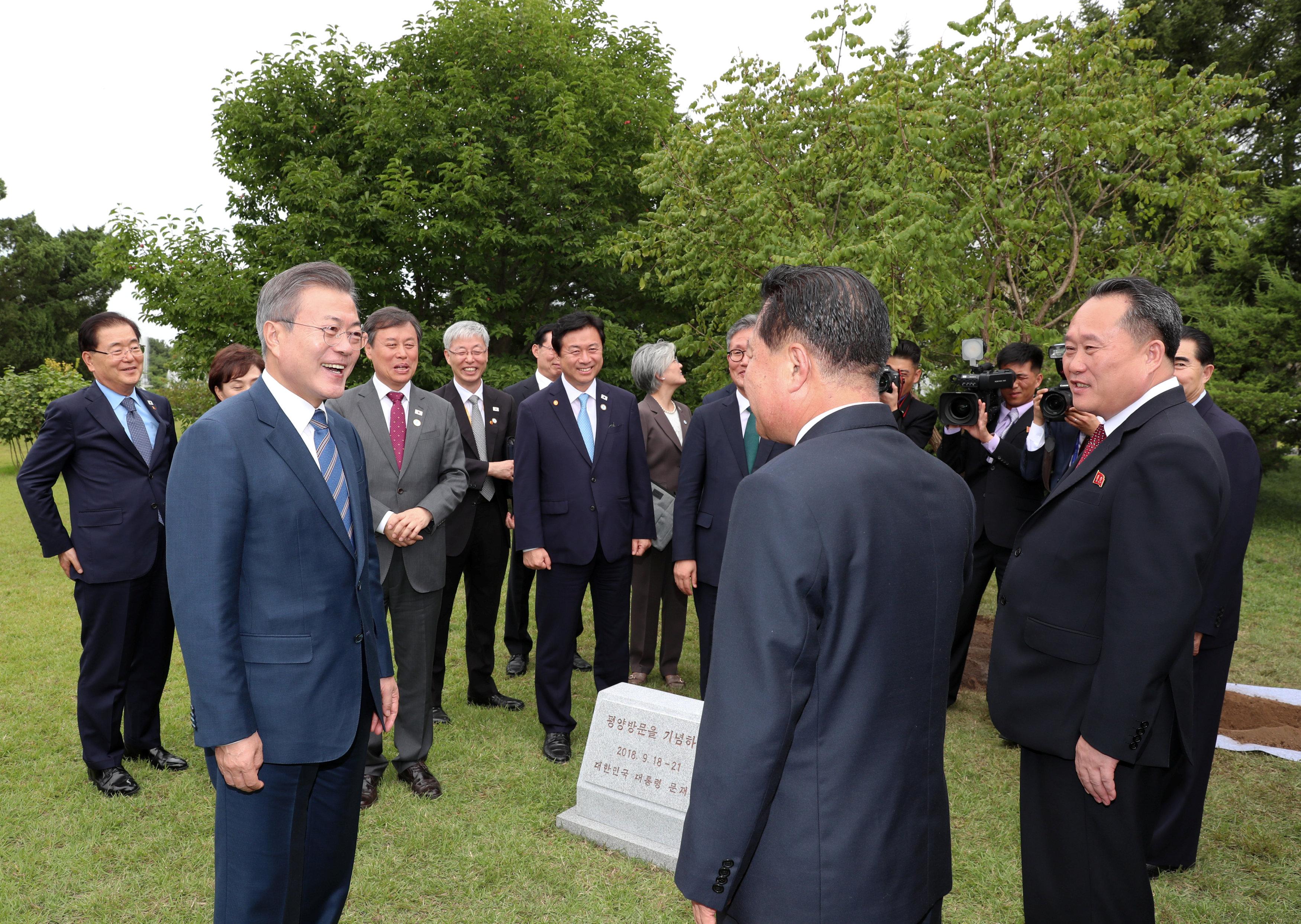الرئيس الكورى الجنوبى يحضر مراسم إزاحة الستار عن شجرة تذكارية ببيونج يانج