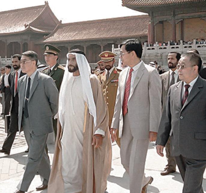 الشيخ زايد فى زيارة تاريخية للصين عام 1990