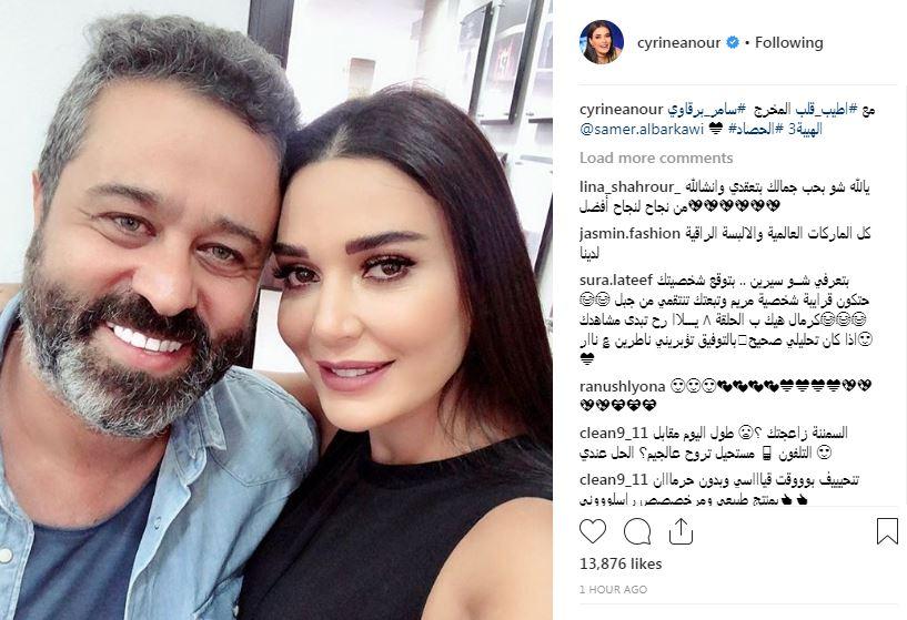 سيرين عبد النور وسامر برقاوى خلال التحضير للهيبة 3