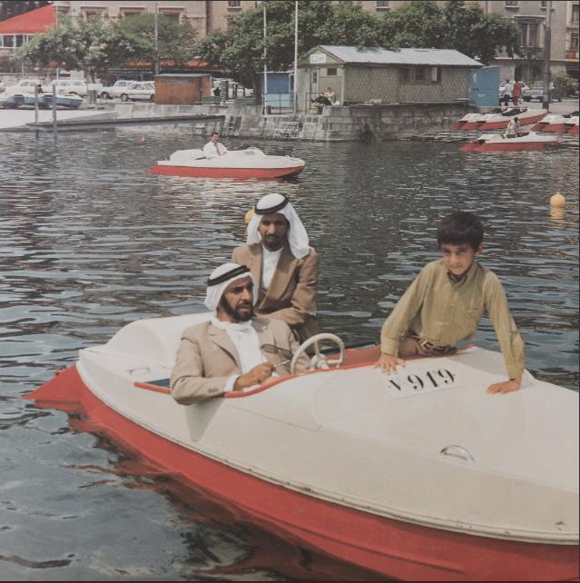 الشيخ زايد خلال نزهة بحرية فى سويسرا