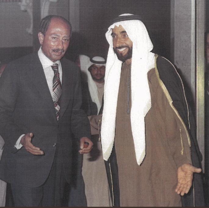 الشيخ زايد مع الرئيس المصرى أنور السادات