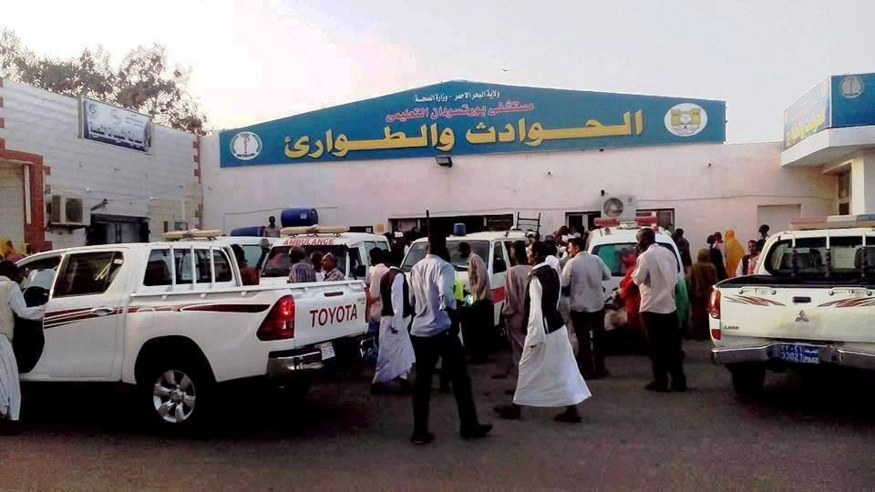التجمعات حول مستشفى فى السودان