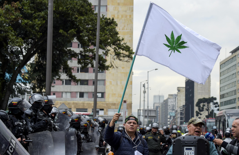 جانب من المظاهرات فى كولومبيا