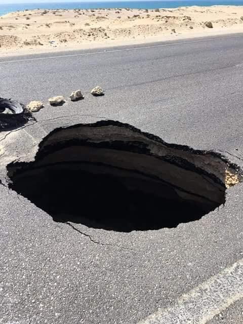 هبوط أرضى على طريق رأس سدر شرم الشيخ (1)