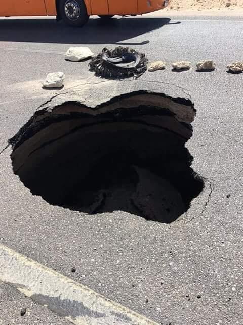 هبوط أرضى على طريق رأس سدر شرم الشيخ (2)