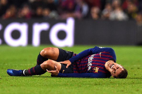 كوتينيو بعد تعرضه لأحد الإصابات