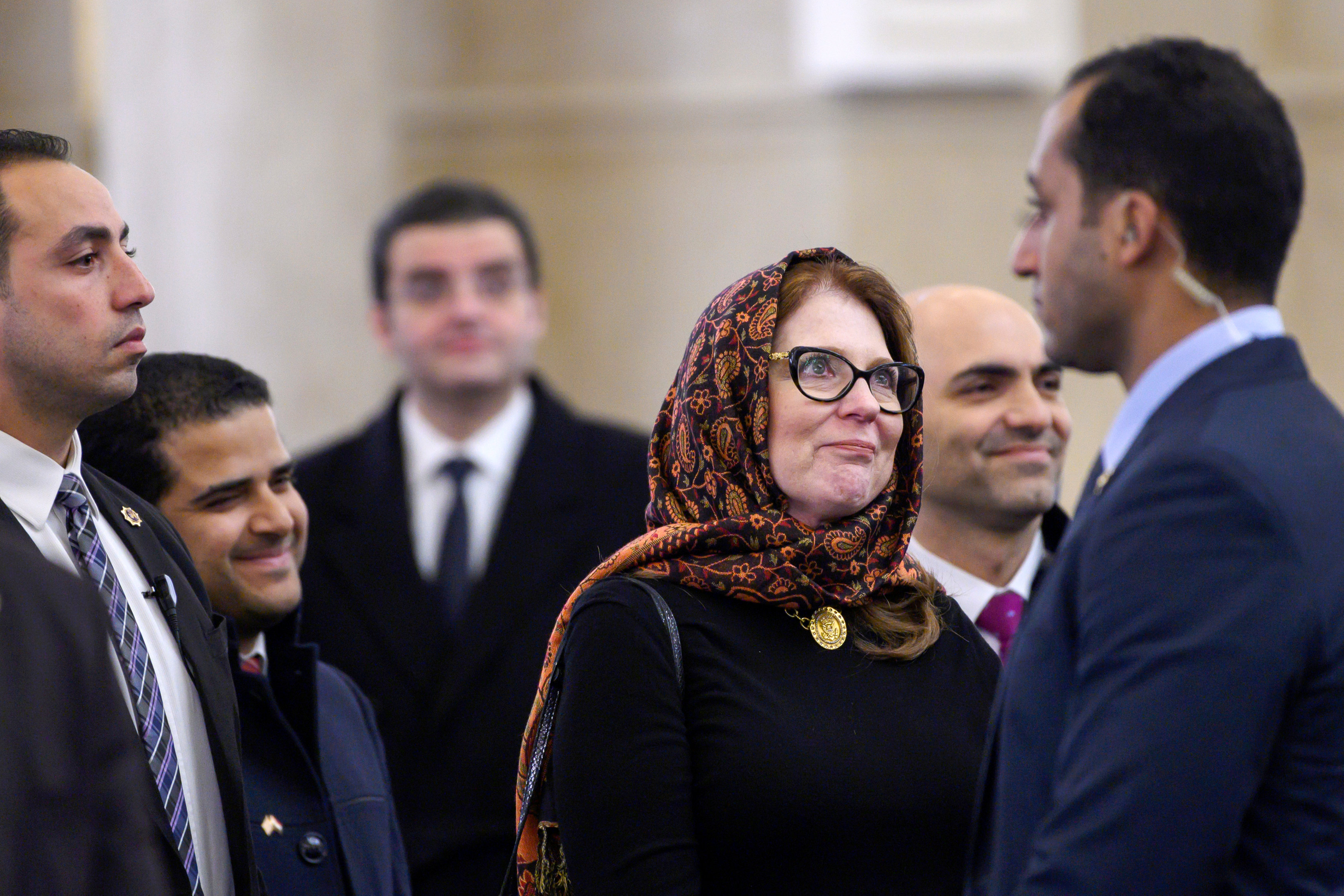 زوجة وزير الخارجية الأمريكى فى مسجد الفتاح العليم