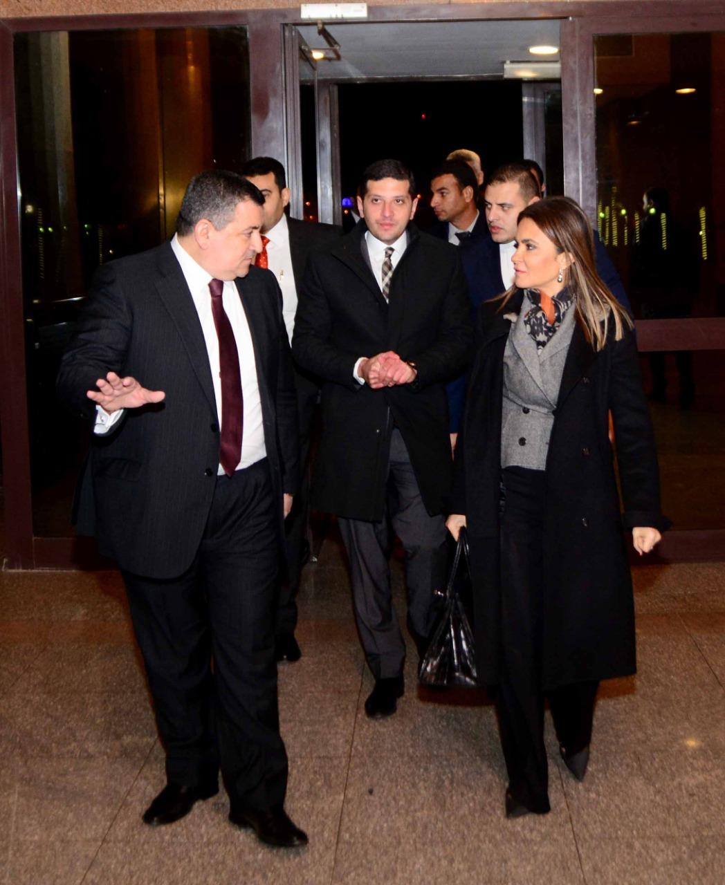 وزيرة الاستثمار وأسامة هيكل والمستشار محمد عبد الوهاب