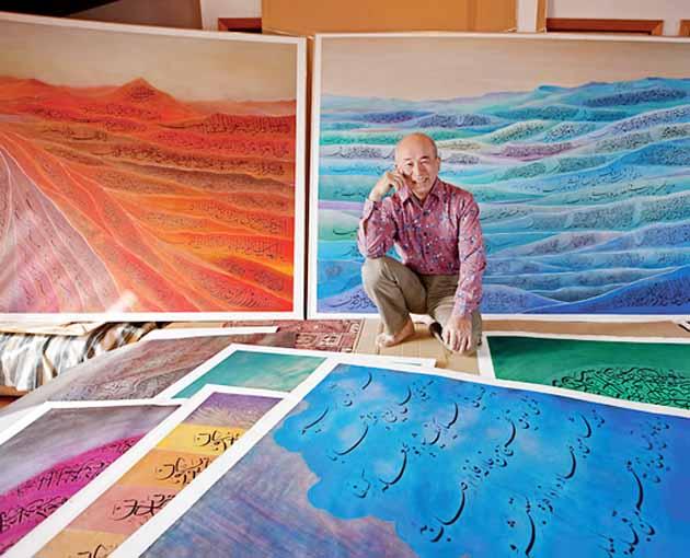مع بعض من لوحاته