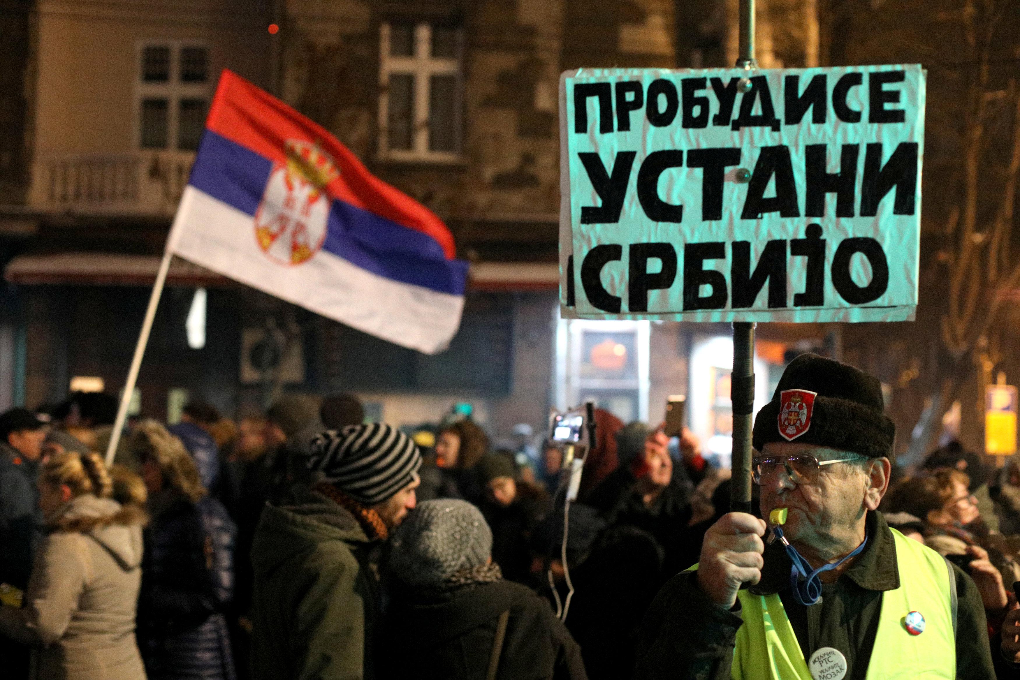 الاحتجاجات الحاشدة ضد الرئيس الصربى فى شوارع بلجراد (1)