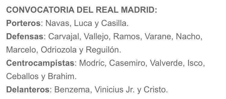 قائمة ريال مدريد لمباراة ريال بيتيس