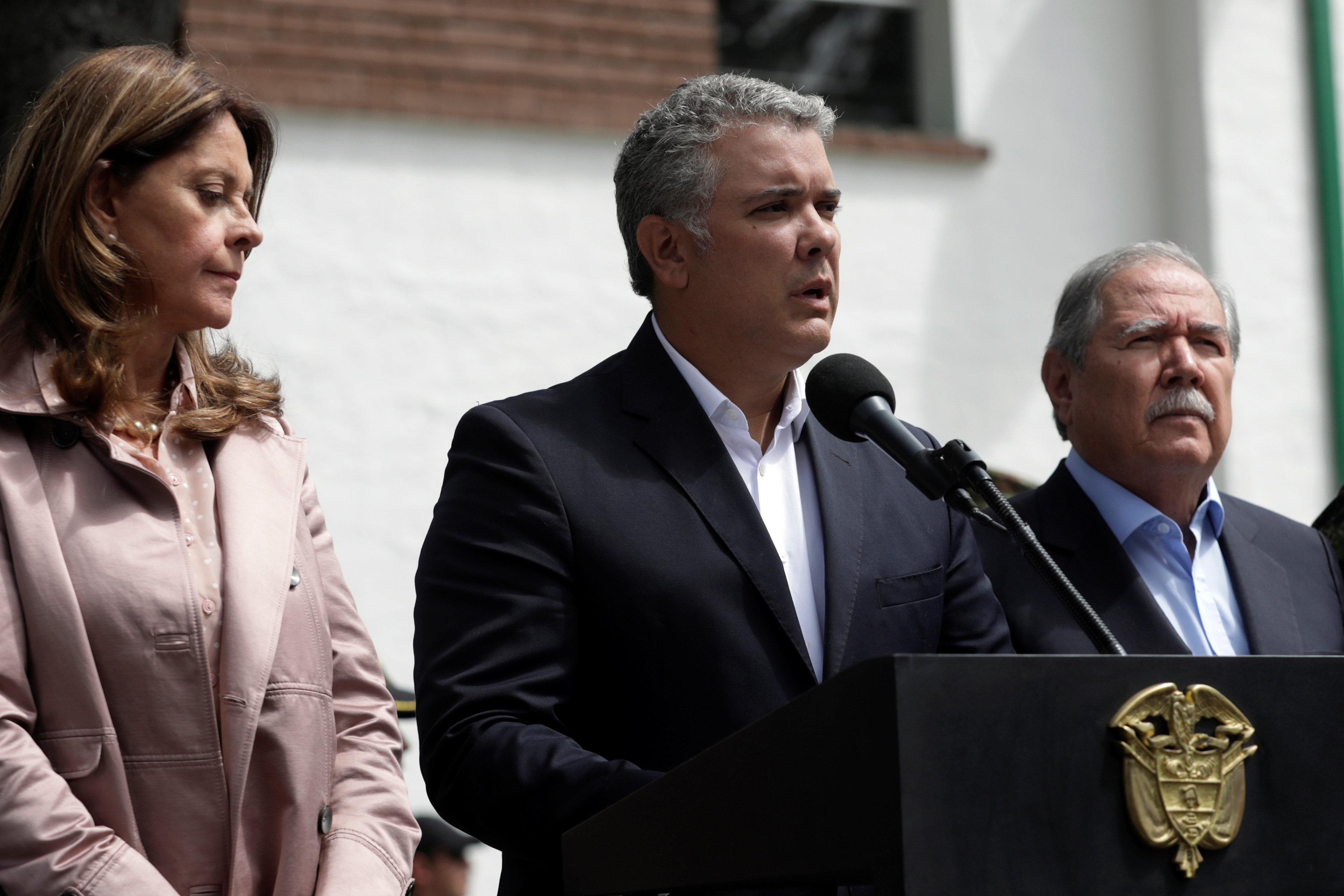 رئيس كولومبيا يتحدث إلى المؤتمر الصحفى