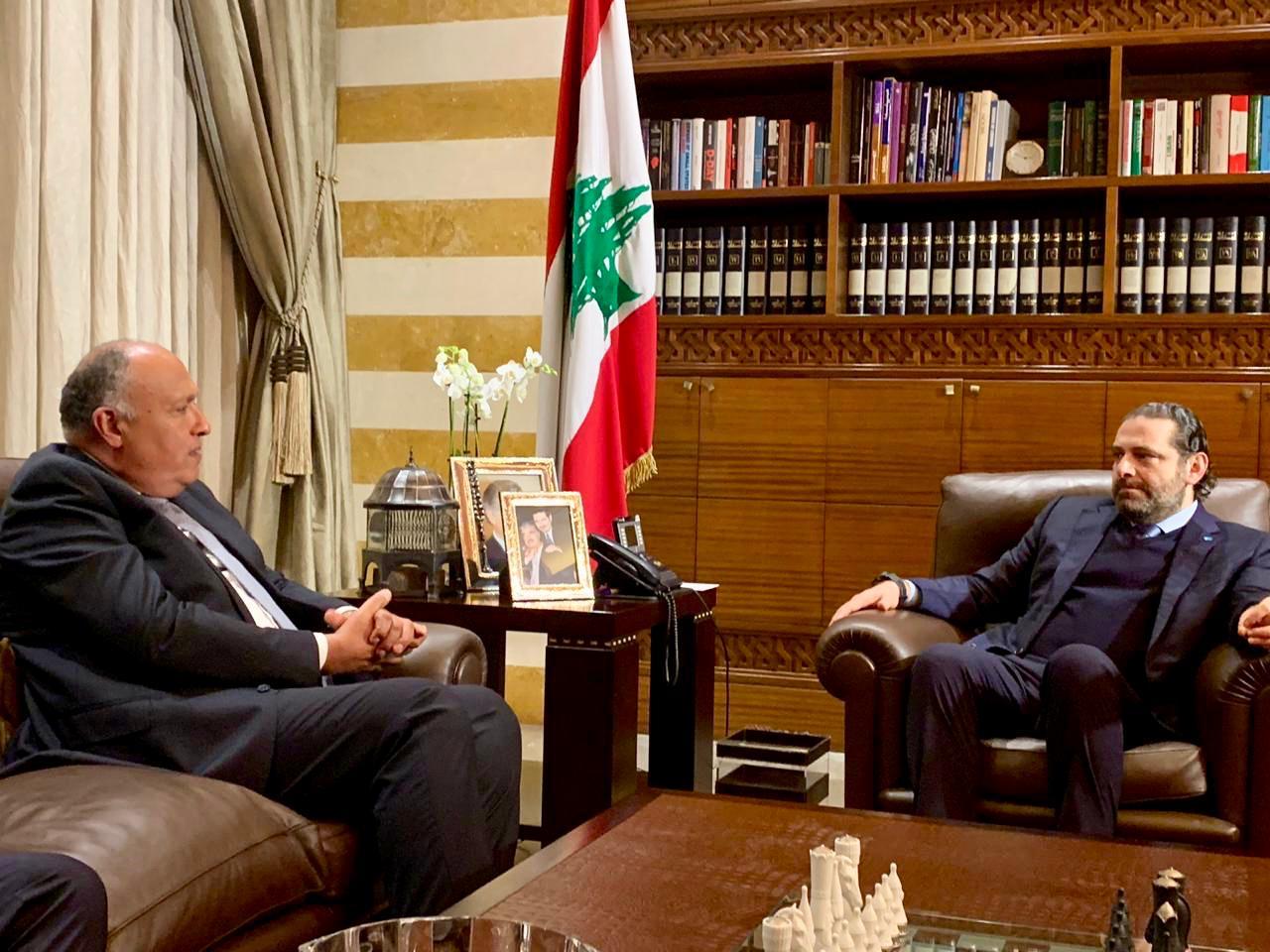 شكرى يلتقى الحريرى فى بيروت