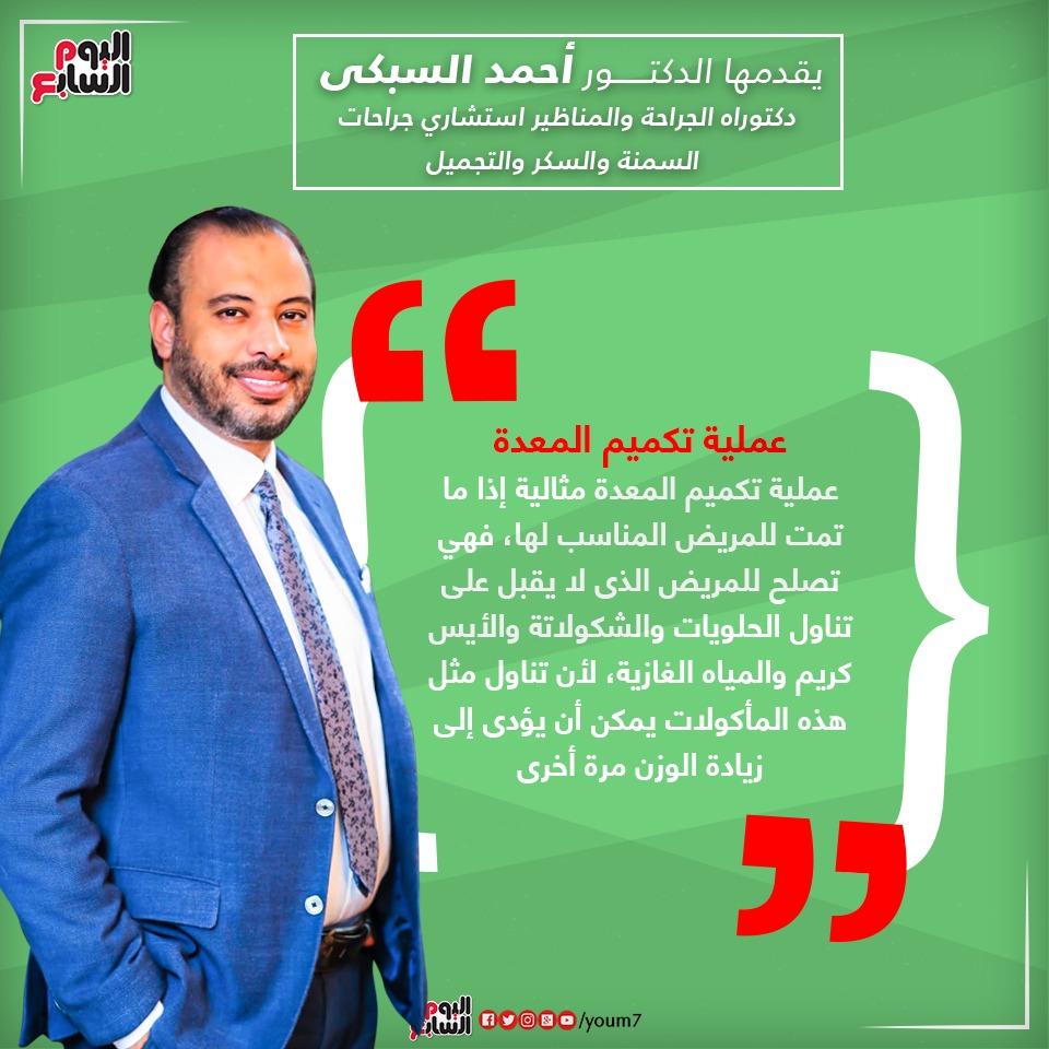 إنفوجراف توضيحى للدكتور أحمد السبكى يتضمن معلومة عن عملية تكميم المعدة