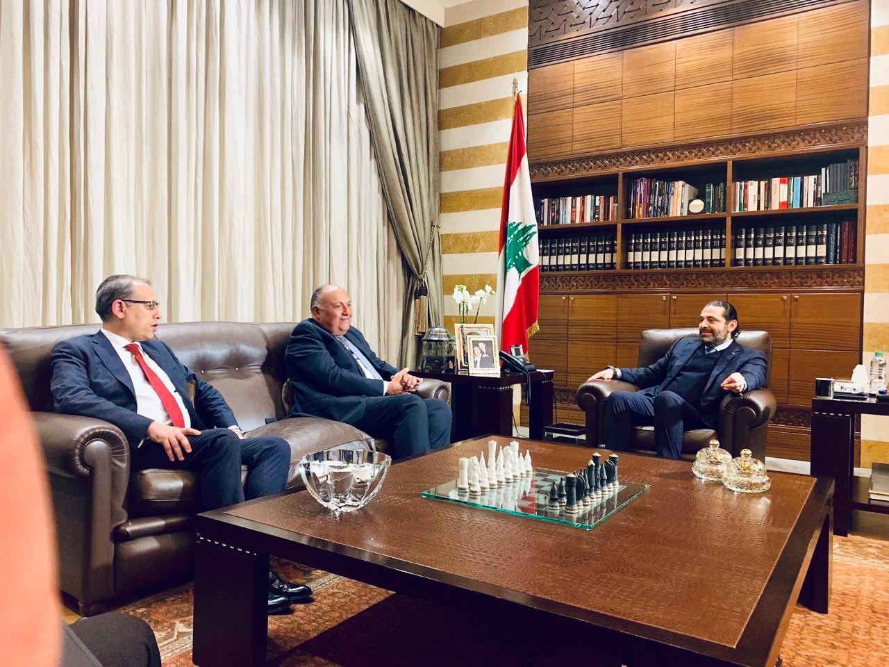 لقاء وزير الخارجية سامح شكرى مع رئيس وزراء لبنان