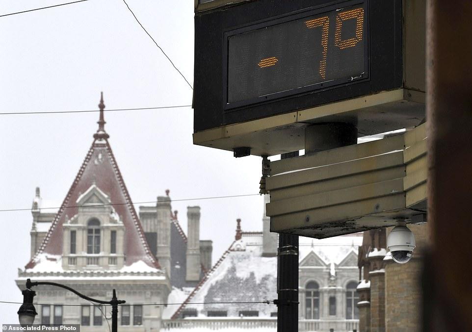 درجة الحرارة 7 فهرنهايت تحت الصفر فى نيويورك