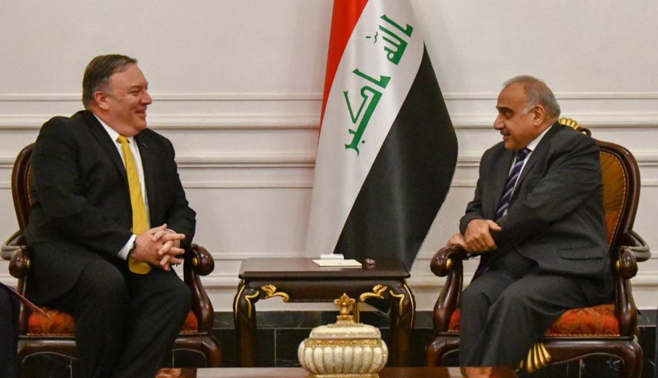 بومبيو مع رئيس الحكومة العراقية