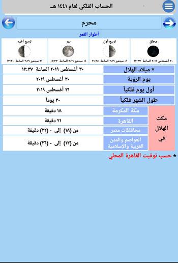 تطبيق اليكترونى لتفاصيل الشهور الهجرية (3)