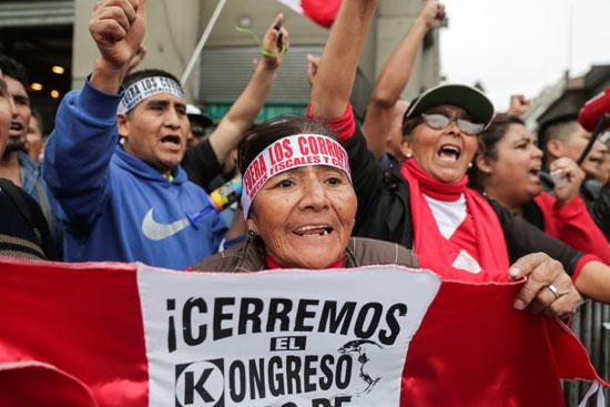 مؤيدو رئيس بيرو فى الشوارع