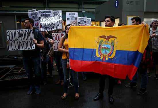 متظاهرون يرفعون علم بلادهم أثناء المظاهرات