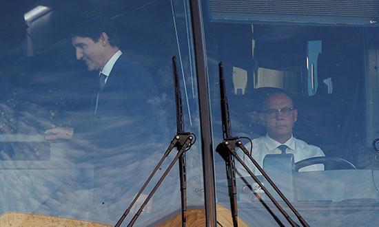 جاستن ترودو لدى وصوله إلى مقر المناظرة
