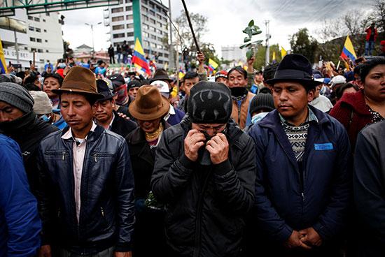 حزن نشطاء الإكوادور على المتظاهر القتيل