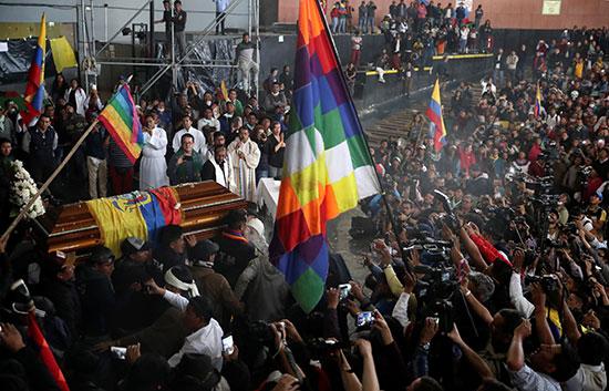 جنازة متظاهر قتل بالإكوادور