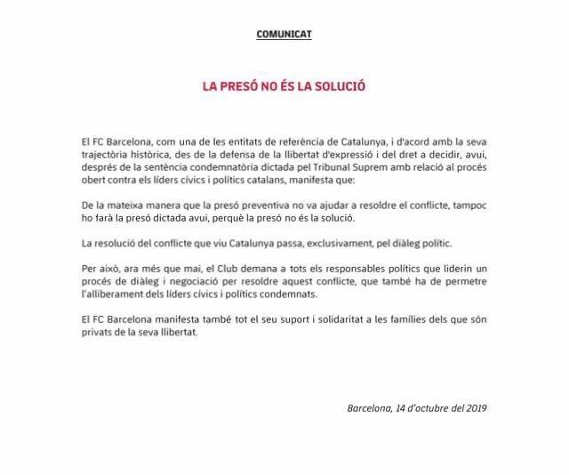بيان نادي برشلونة