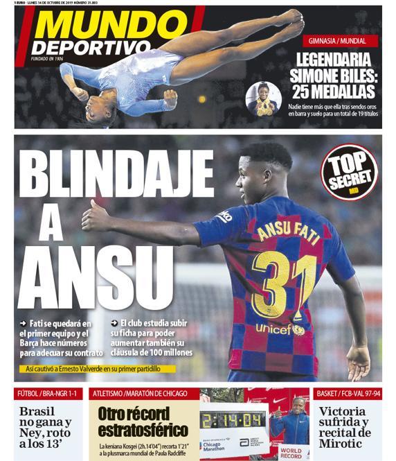 غلاف جريدة موندو ديبورتيفو عدد الاثنين