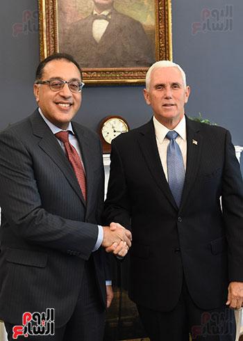 مصطفى مدبولى رئيس الوزراء مع مايك بنس نائب الرئيس الأمريكى (6)