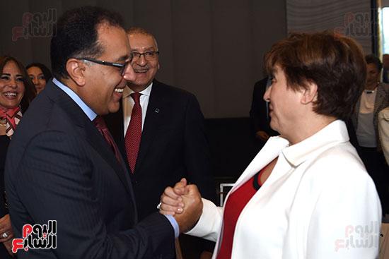 مصطفى مدبولى رئيس الوزراء يلتقى رئيسة صندوق النقد الدولى (2)