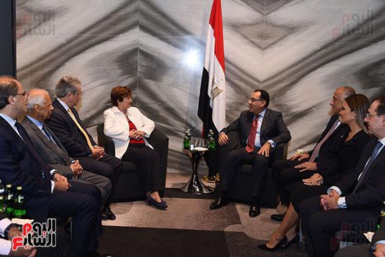 مصطفى مدبولى رئيس الوزراء يلتقى رئيسة صندوق النقد الدولى (3)