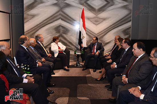 مصطفى مدبولى رئيس الوزراء يلتقى رئيسة صندوق النقد الدولى (4)