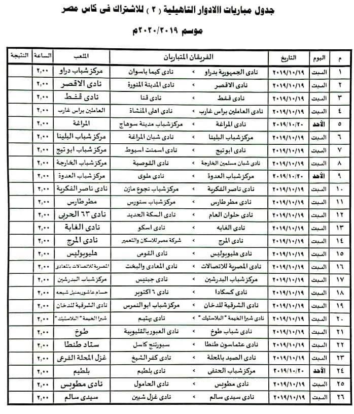 اتحاد الكرة يعلن مواعيد الدور التمهيدي الثاني في بطولة كأس مصر اليوم السابع