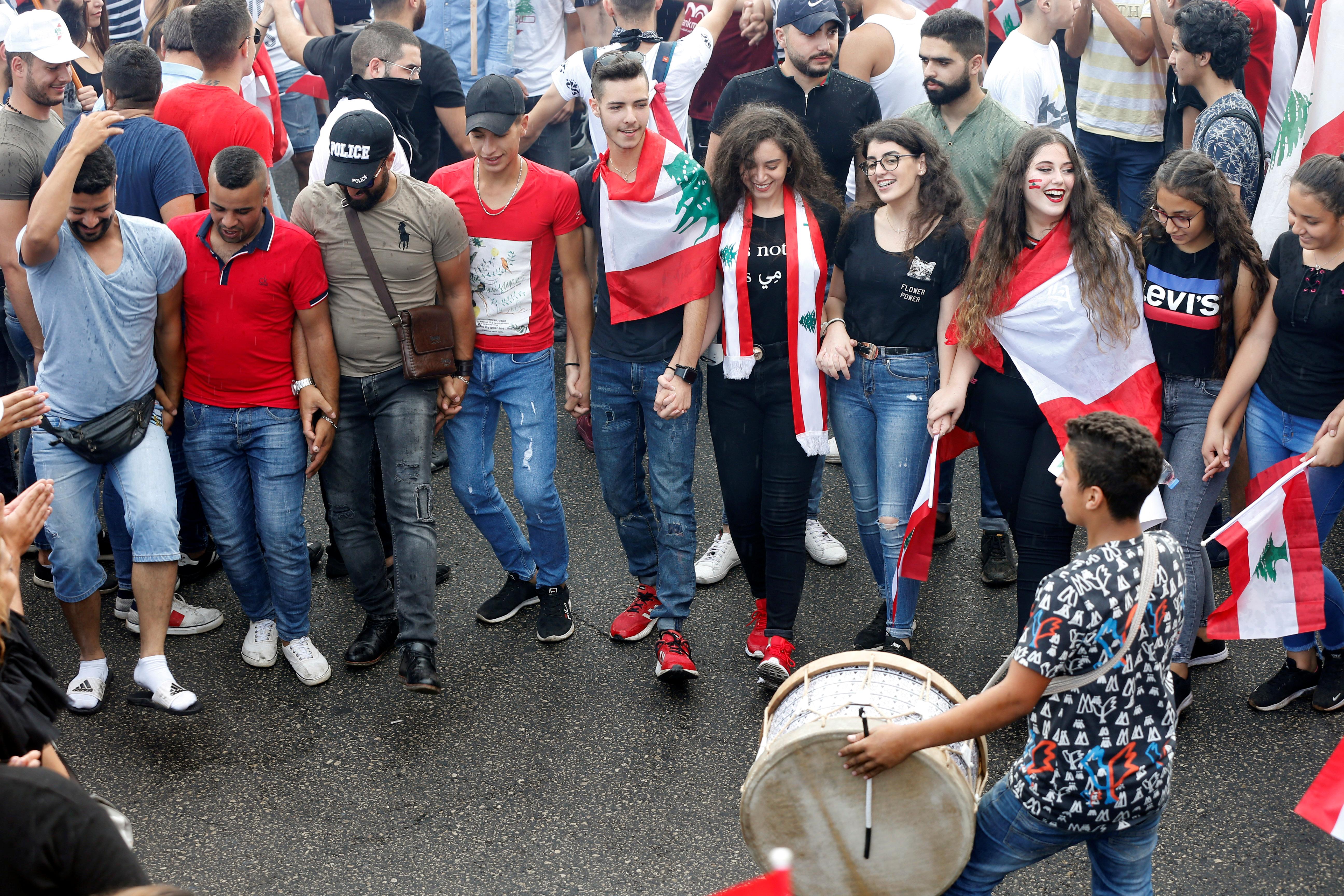 جانب من مظاهرة العاصمة بيروت
