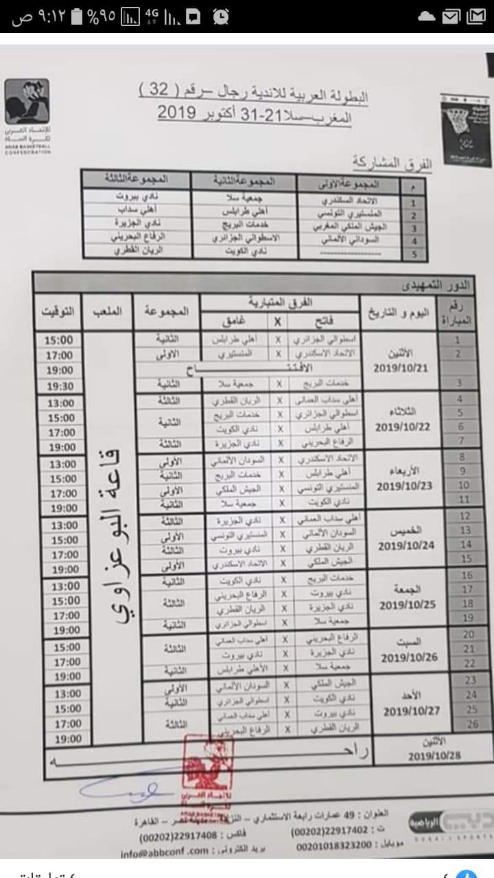 مباريات البطولة العربية للسلة