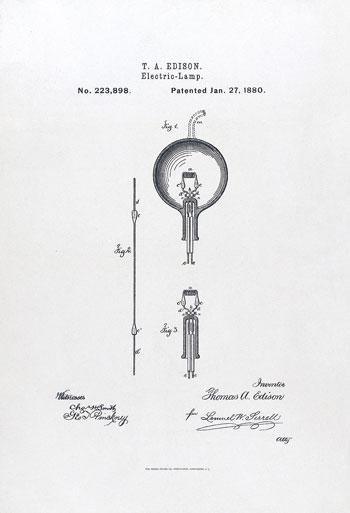 براءة-اختراع-أمريكية-المصباح-الكهربائي