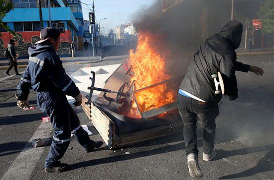 عنف فى احتجاجات فالبارايسو فى تشيلى