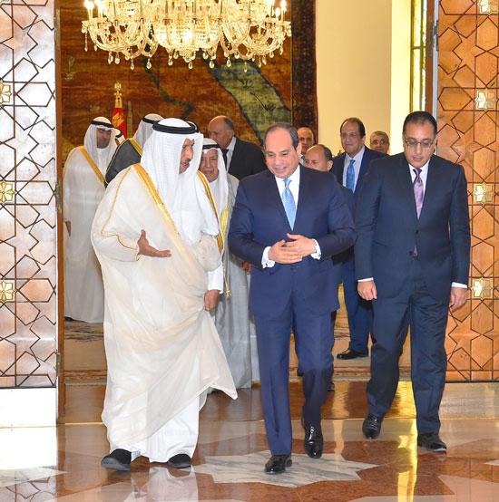 استقبال الرئيس عبد الفتاح السيسي للشيخ جابر المبارك الحمد الصباح، رئيس مجلس الوزراء الكويتي (5)