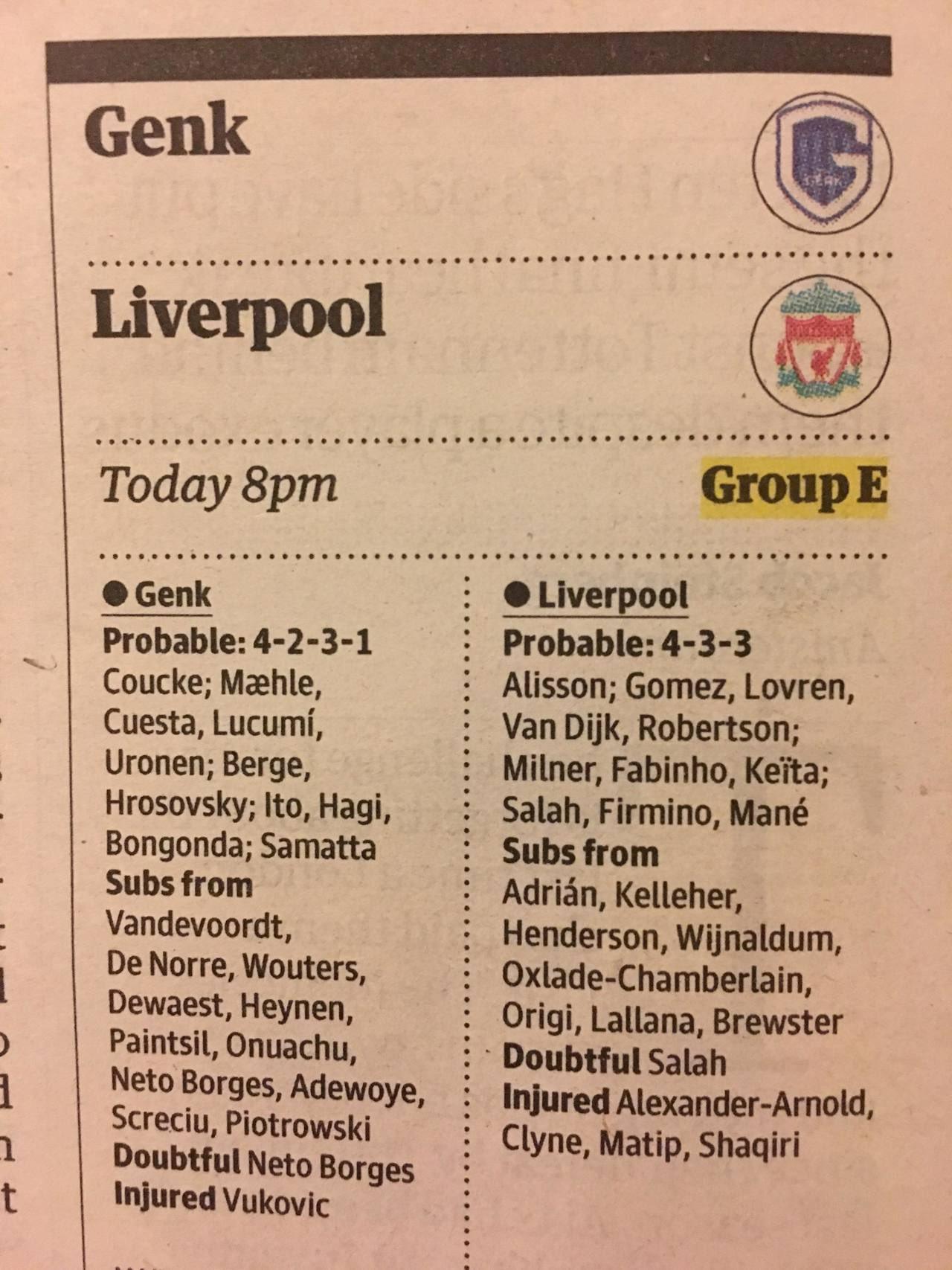 التشكيل المتوقع لمباراة جينك ضد ليفربول