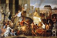 الإسكندر يدخل بابل على عربة الشاه دارا الثالث