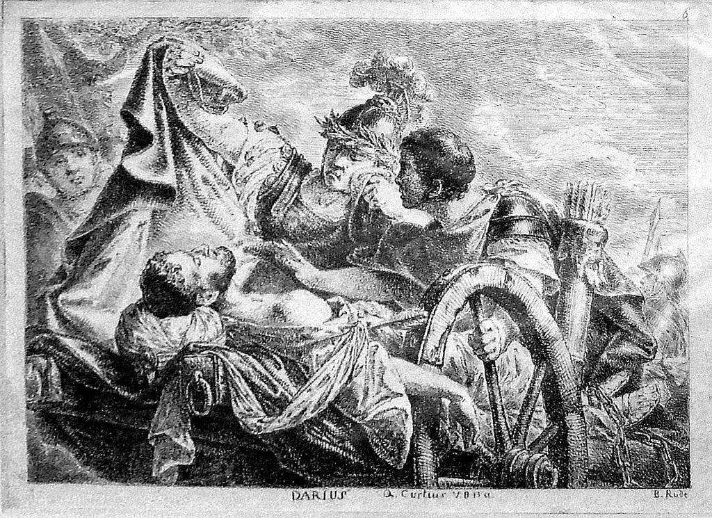 الإسكندر يُغطي جثة دارا بعبائته