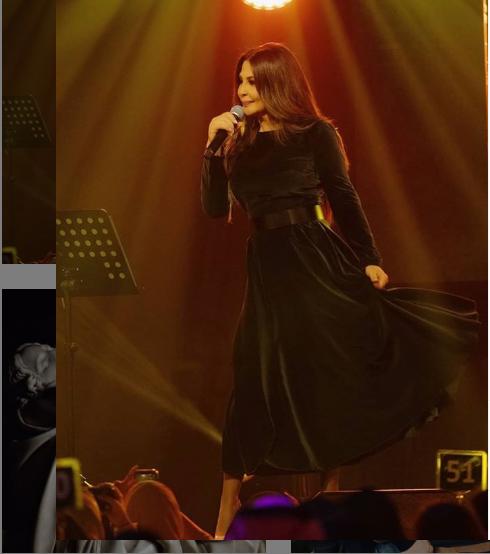 اليسا بفستان أسود بسيط